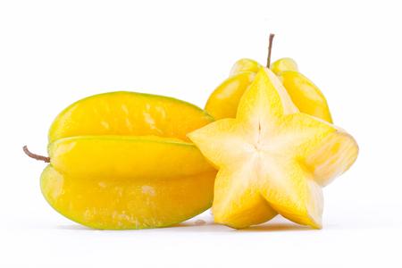 노란색 스타 과일 카람 볼라 또는 흰색 배경에 스타 애플 (starfruit) 절연 건강 한 스타 과일 음식 스톡 콘텐츠