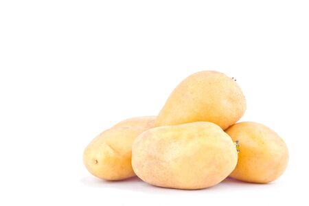 fresh organic potatoes tubers on white background healthy potato Vegetable food isolated Stock Photo