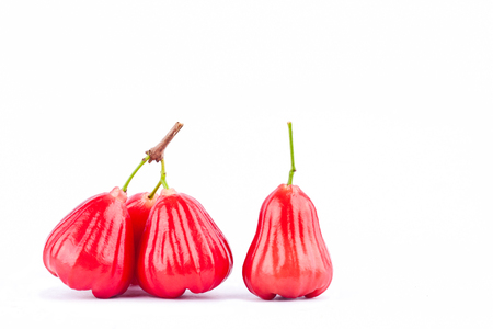 fresh red  rose apple   on white background healthy rose apple fruit food isolated Stock Photo