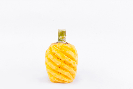 yellow peeled  pineapple   on white background healthy pineapple fruit food isolated