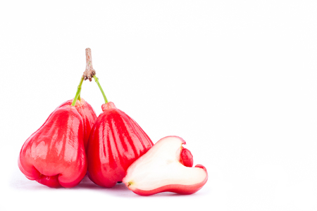 half  rose apple and   red rose apples  on white background healthy rose apple fruit food isolated Stock Photo