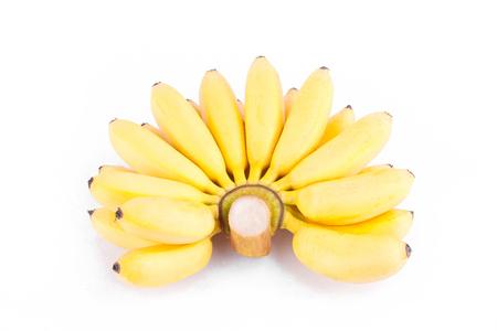 ripe hand of golden bananas or  Lady Finger banana     on white background healthy Pisang Mas Banana fruit food isolated Stock Photo