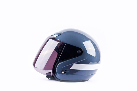 blue motorcycle helmet side view on white background helmet safety object isolated Stock Photo