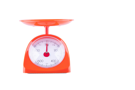 weight balance weighing scale food machine on white background kitchen equipment object isolated