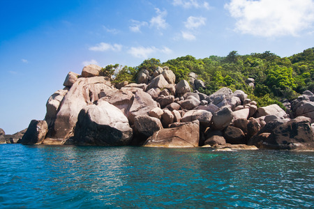 rock mountain and green local tree and blue sea water in koh tao at surat thani on beautiful nature tourism landscape background Reklamní fotografie