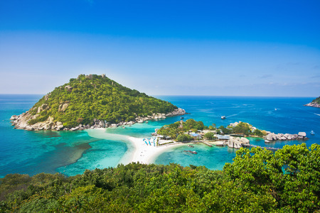 the highest viewpoint of nangyuan island at koh tao thailand on beautiful nature landscape background