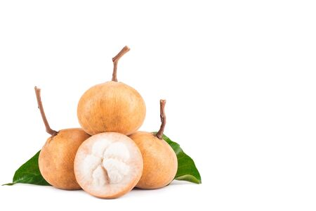 ripe santol or sentul fruit is seasonal fruit of Thailand on white background planting agriculture food isolated