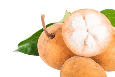 organic fresh fruit santol sold thailands on white background planting agriculture food isolated