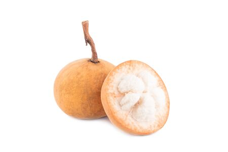 half santol fruit and ripe Clongnoi santol on white background planting agriculture food isolated