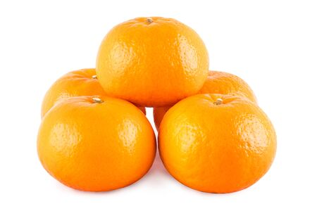 group of orange on white background fruit agriculture food isolated