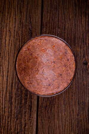 top view of Shrimp paste is local cuisine food in thailand