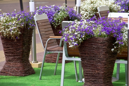 Outdoor restaurant with flowers