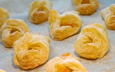 Puff pastry croissants peach stuffed