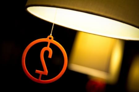Original restaurant lamps orange color Stock Photo