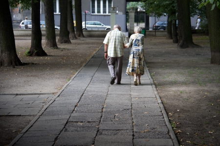 Old couple walking in the park photo