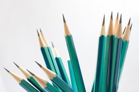 Set of sharpened green pencils