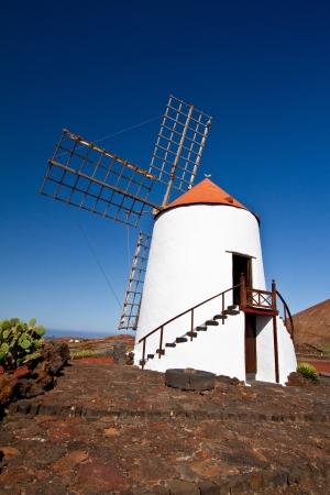 Windmill in the Jardin de Cactus Lanzarote island