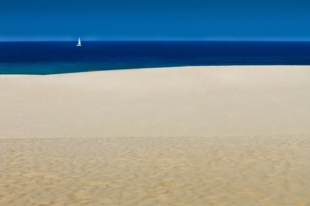 Yacht at Corralejo sand dunes Fuerteventura