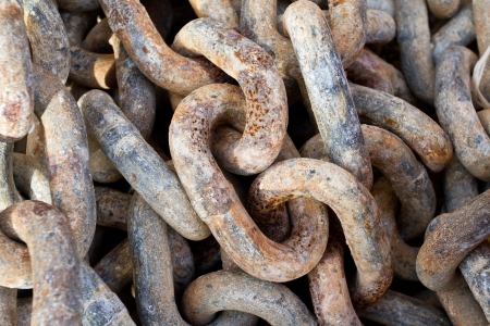 Chain with big shackles in a port