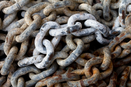 Chain with big shackles in a port photo