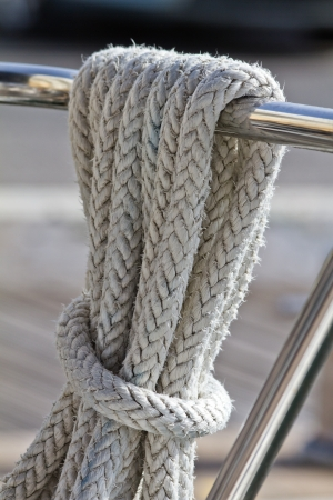 Rope on the deck of sailing yacht