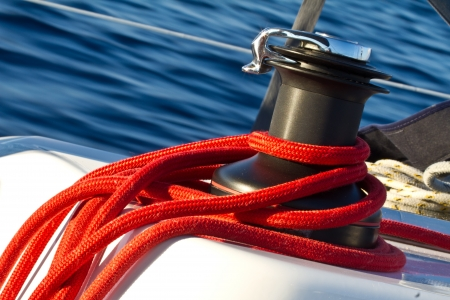 Capstan on the deck of sailing yacht
