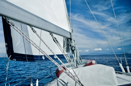Sailing yacht on the sea deck view