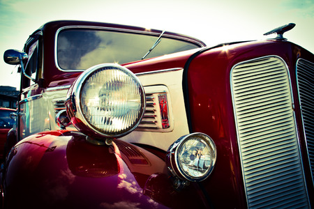 Old car front view headlights