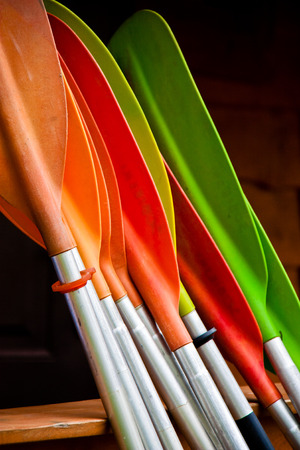 Bunch of plastic colorful oars Stock Photo