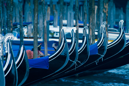 Venice gondolas at the pier