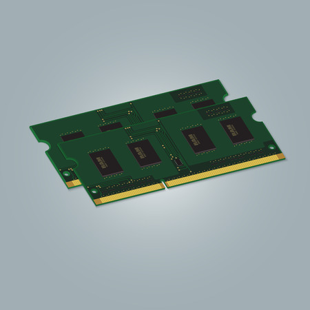 Laptop Computer RAM Random-Access Memory Chip Isolated on White Background. RAM Memory Module.
