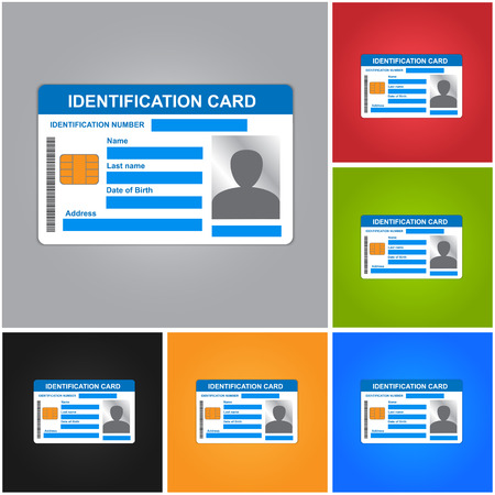 access card: Identification Card Isolated on Color Background. ID Card Icons Set. Illustration