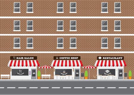 sidewalk cafe: Hair Salon, Restaurant and Coffee Shop Facade with Street Landscape. Brick Building Retro Style Facade  Illustration