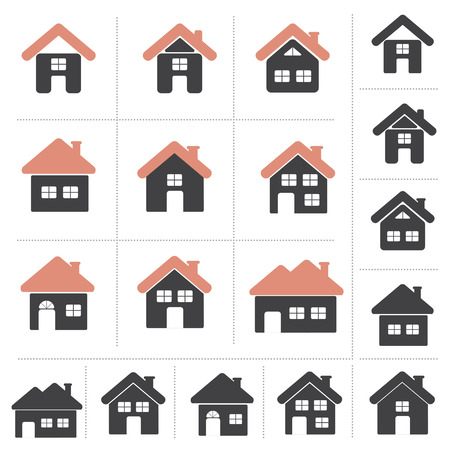 Set of Home Icon Collection,  House Icon Set, 9 Different Designs . 2 Colors and Black Color Design, Illustration