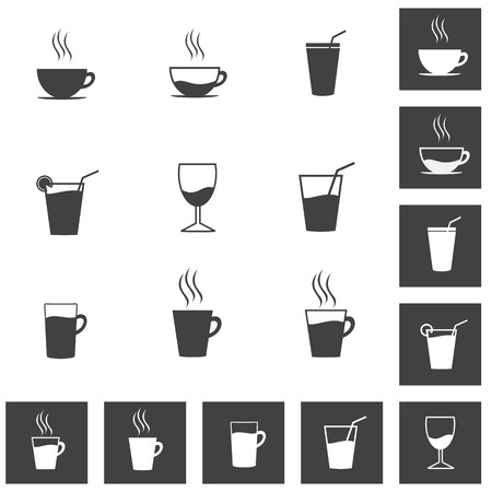 Simple Drinks and Beverages Icon Set. Coffee Cups, Glass and Glassware Icons, Illustration