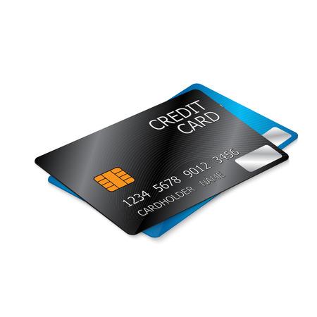 Black and Blue Credit Cards, Two Credit Cards Isolated on White Background. illustration. Ilustração