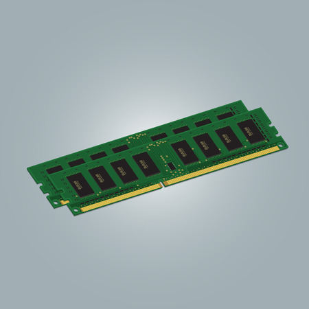 Computer RAM Random-Access Memory Chip Isolated on White Background. RAM Memory Module.
