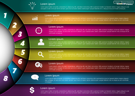Metallic Diagram Circle Design, 8 Options, Semi-circle With Number,  Business Icon and Information Text Design On Metallic Multi-Color Background, For Business Finance Infographic.  Ilustração