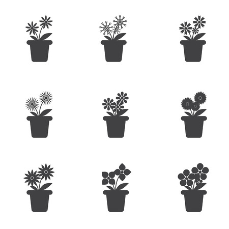 Set of Flowers in Pots Icon on White Background.