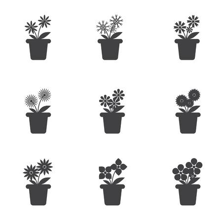 Set van bloemen in potten pictogram op witte achtergrond.
