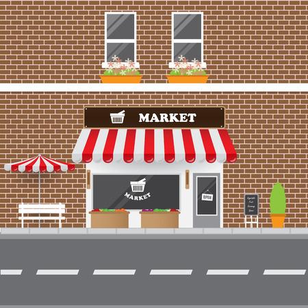sidewalk cafe: Market Facade with Street Landscape. Brick Building Retro Style Facade