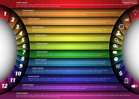 Metallic Diagram Semi-Circle Design, 12 Options, 2 Side for Number and  Business Icon, Information Text Design On Metallic Multi-Color Background Ilustração