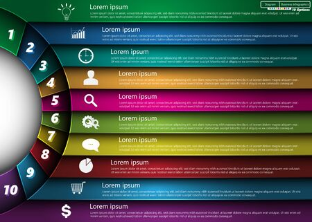Metallic Diagram Circle Design, 10 Options, Semi-circle With Number,  Business Icon and Information Text Design On Metallic Multi-Color Background, For Business Finance Infographic. Ilustração