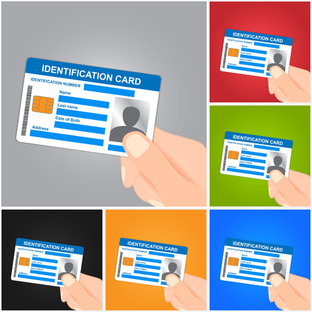 access card: Hand Holding Identification Card on Color Background.  Illustration