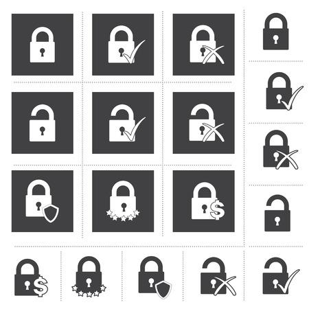 Lock Icon Set, Security Lock Icon, Safety Symbol
