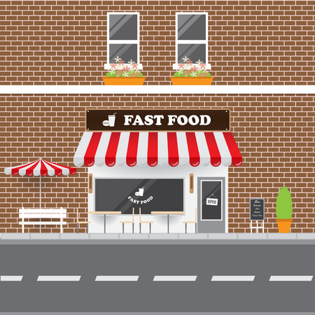 fast food restaurant: Fast Food Restaurant Faced with Street Landscape. Brick Building Retro Style Facade