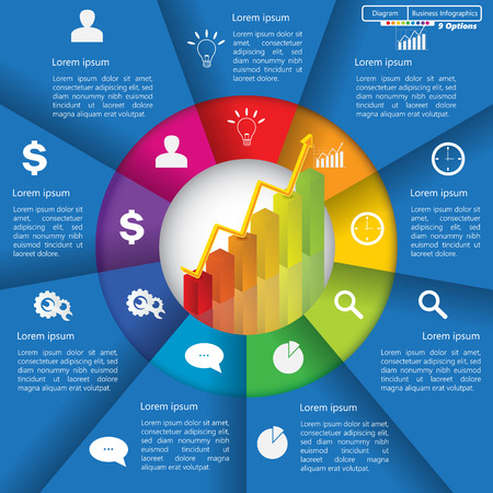 Financial and Business InfographicDiagram with 9 Options, GraphChart Going Up, Business Icon and Text Information on Blue Background. WorkflowElement Layout Design.