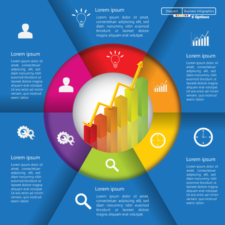 going up: Financial and Business InfographicDiagram with 6 Options, GraphChart Going Up, Business Icon and Text Information on Blue Background. WorkflowElement Layout Design.  Illustration