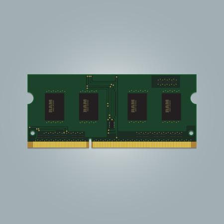 Laptop Computer RAM (Random-Access Memory) Chip Isolated. RAM Memory Module.
