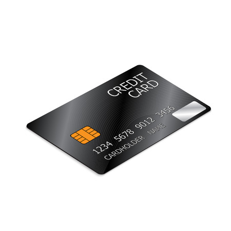 Black Credit Card Isolated on White Background.